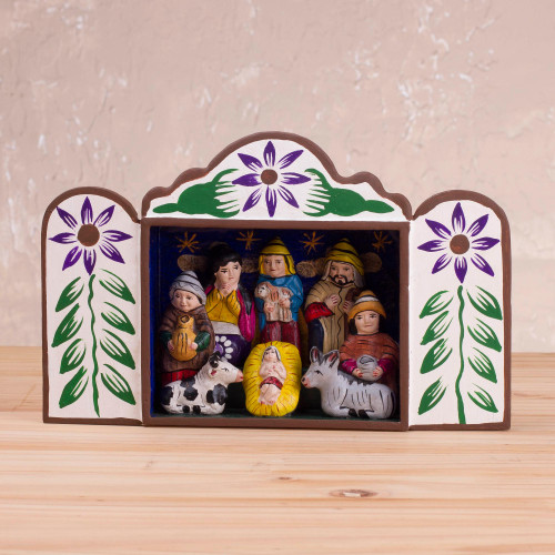 Andean Handcrafted Retablo Diorama Folk Art Nativity Scene 'First Christmas in Peru'