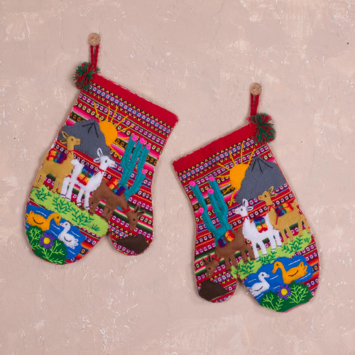 Hand Made Cotton Arpillera Decorative Mitts Featuring Llamas 'Llama Walk'