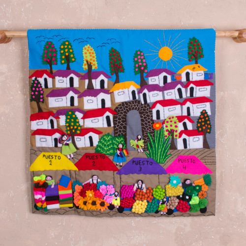 Hand Made Cotton Arpillera Wall Hanging of Peruvian Market 'Market Splendor'