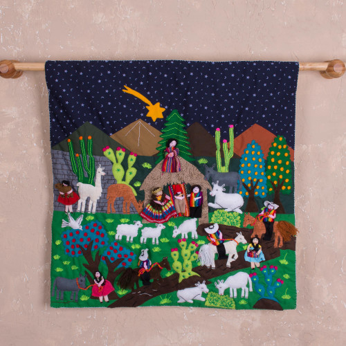 Hand Made Cotton Arpillera Wall Hanging of Andean Nativity 'Andean Nativity'
