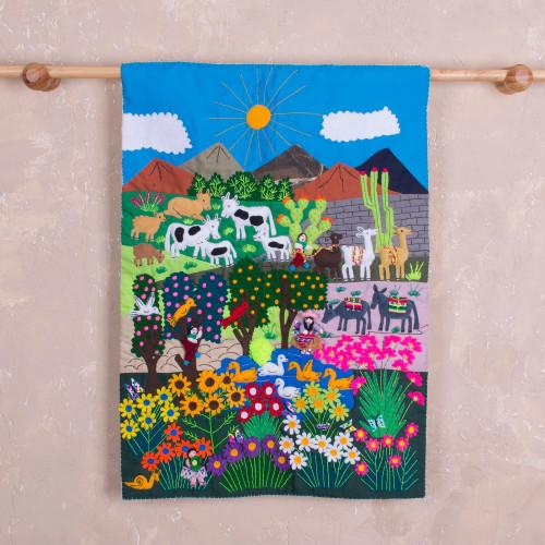 Hand Made Cotton Arpillera Wall Hanging Celebrating Nature 'Long Live Nature'