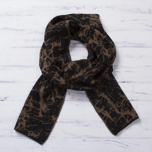 Reversible Variegated Brown and Black Alpaca Blend Scarf 'Marbled Beauty'