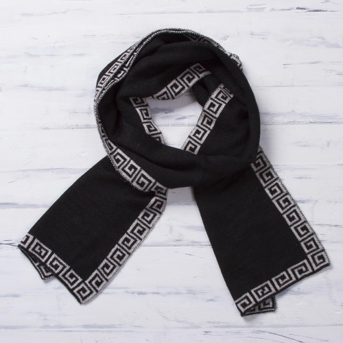 Reversible Ivory and Black Alpaca Blend Knit Scarf from Peru 'Incan Inspiration'