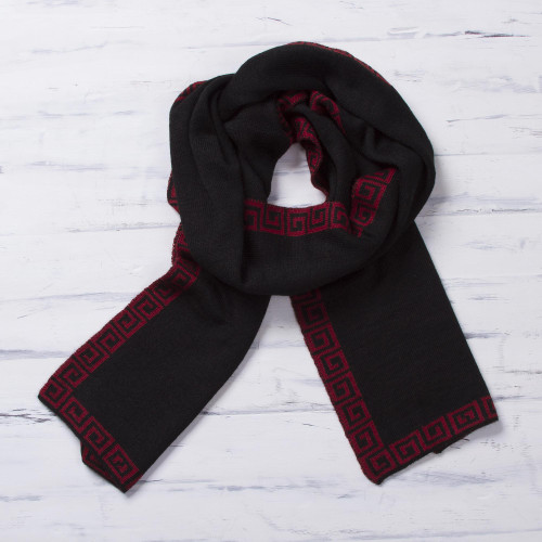 Red and Black Reversible Alpaca Blend Knit Scarf from Peru 'Incan Muse'