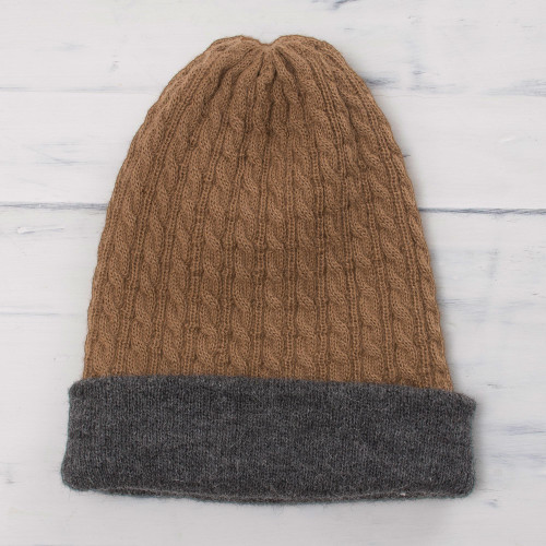 Men's Reversible Grey and Brown Alpaca Blend Hat from Peru 'The Bells of Huancayo'