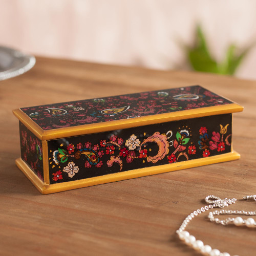 Handcrafted Reverse-Painted Glass Decorative Box from Peru 'Floral Life'