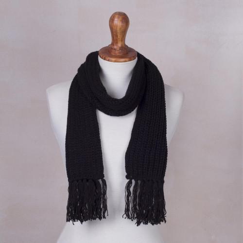 Andean Unisex Black Acrylic Rib Knit Scarf 'Black Andean Textures'