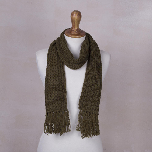 Unisex Rib Knit Acrylic Scarf in Olive Green from Peru 'Olive Green Andean Textures'