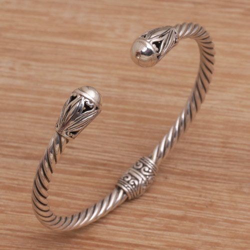 Hand Crafted Sterling Silver Cuff Bracelet from Bali 'Eternal Garden'