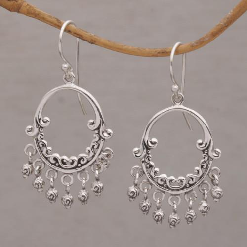 Handmade 925 Sterling Silver Dangle Chandelier Earrings 'Dream Bell'