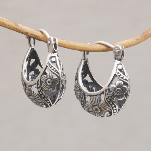 Handmade 925 Sterling Silver Dangle Earrings Flower Petals 'Petal Parade'