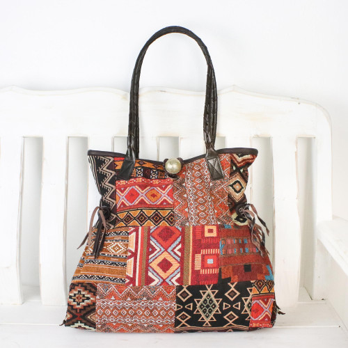 Hand Made Cotton Shoulder Bag with Leather Accent 'Delightful Sunrise'
