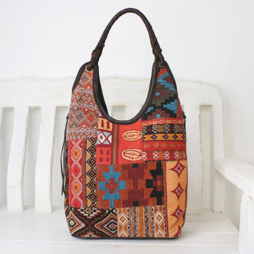 Handmade Cotton Blend Patchwork Red Hobo Bag Leather Trim 'Perfect Patchwork in Red'