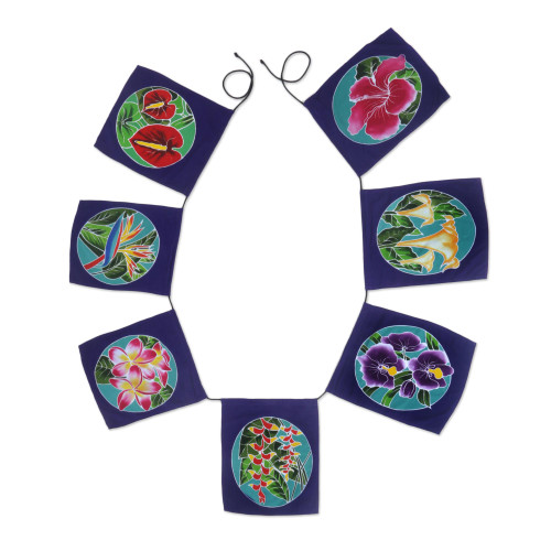 Batik Rayon Wall Hanging with Floral Motifs from Bali 'Ethnic Petals'