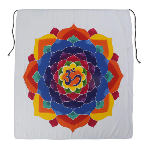 Batik Rayon Wall Hanging with Floral Om from Bali 'Meditation Bloom'