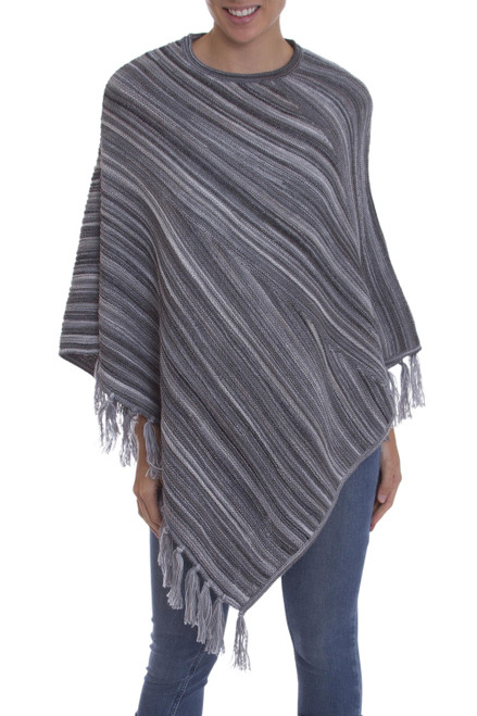 Black and Grey Striped 100 Alpaca Wool Knit Fringed Poncho 'Swirling Clouds'
