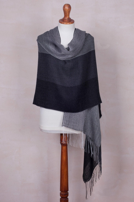 Handwoven Black and Grey Baby Alpaca Blend Shawl from Per 'Power Executive'