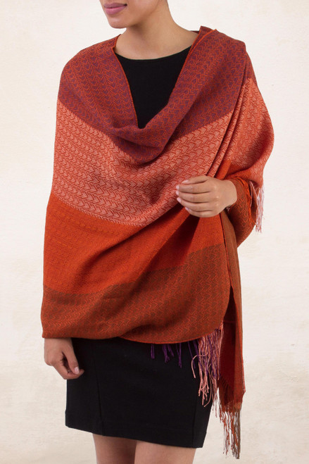 Handwoven Red and Orange Baby Alpaca Blend Shawl from Peru 'Blazing Warmth'