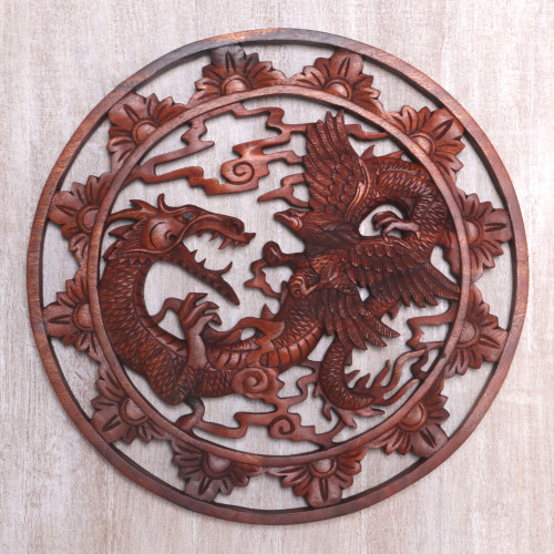 Balinese Dragon and Garuda Suar Wood Wall Relief Panel 'Battle of Legends'