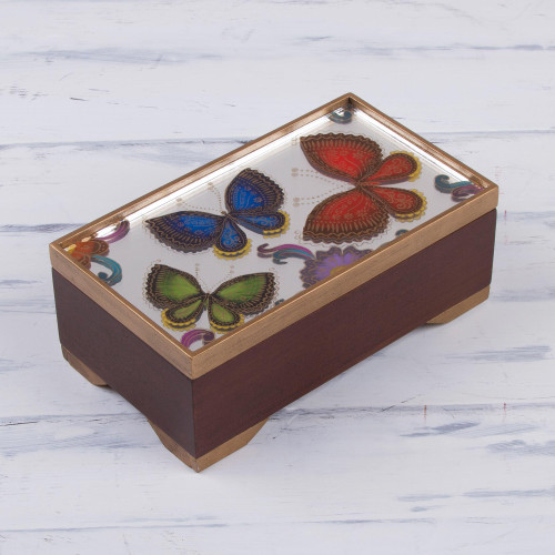 Butterfly Motif Reverse-Painted Glass Box from Peru 'Butterfly Reflection'