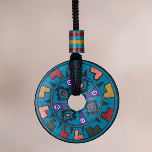 Hand Painted Blue Multicolored Ceramic Pendant Necklace 'Garden of the Sun'