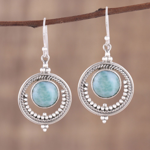 Larimar and Sterling Silver Dangle Earrings from India 'Lunar Delight'