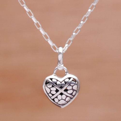 Heart Shaped Sterling Silver Paw Print Pendant Necklace 'Paw Print Love'