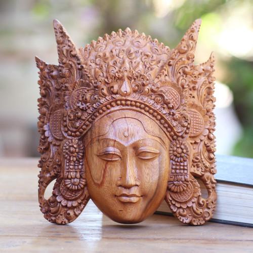 Handmade Indonesian Suar Wood Mask from Bali 'Cili'