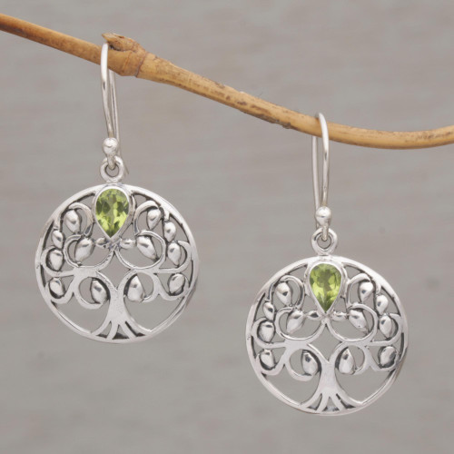 Handmade 925 Sterling Silver Peridot Dangle Earrings 'The Living Tree'