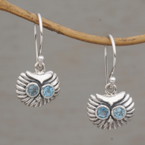 Petite Sterling Silver and Blue Topaz Owl Earrings 'Owl's Bright Gaze'