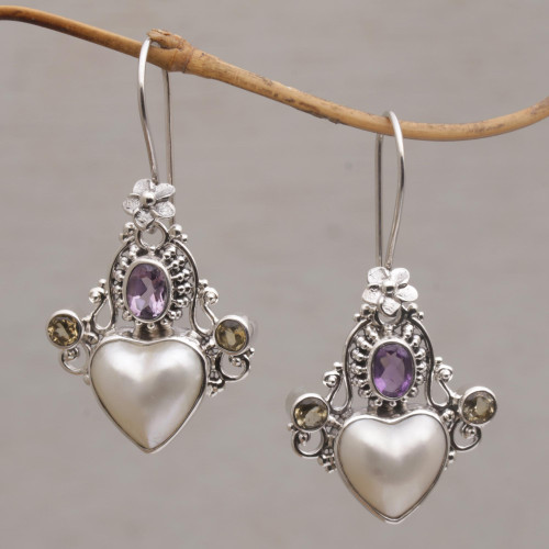 Cultured Pearl, Amethyst and Citrine Heart Dangle Earrings 'Flying Hearts'