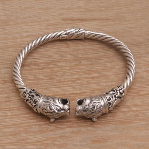 Artisan Handmade 925 Sterling Silver Tiger Cuff Bracelet 'Tiger Storm'