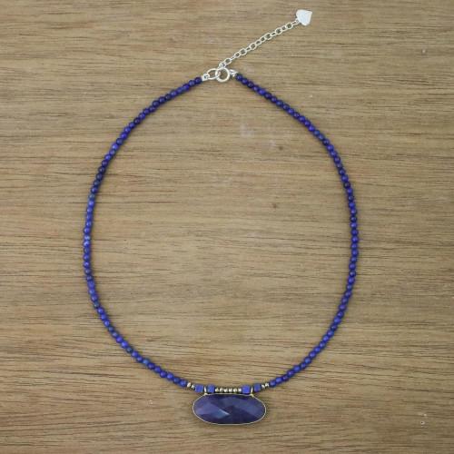 Quartz and Lapis Lazuli Pendant Necklace from Thailand 'Shades of Blue'