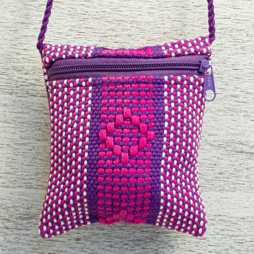 Hand Woven 100 Cotton Cell Phone Bag with Diamond Motif 'Purple Diamonds'