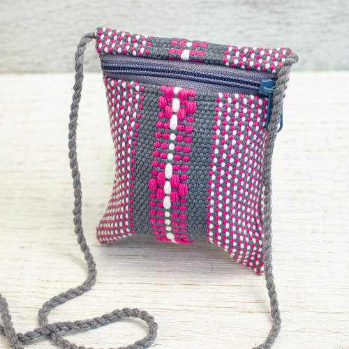 Mexican Loom Woven 100 Cotton Pink and Grey Cell Phone Bag 'Zapotec Heritage'