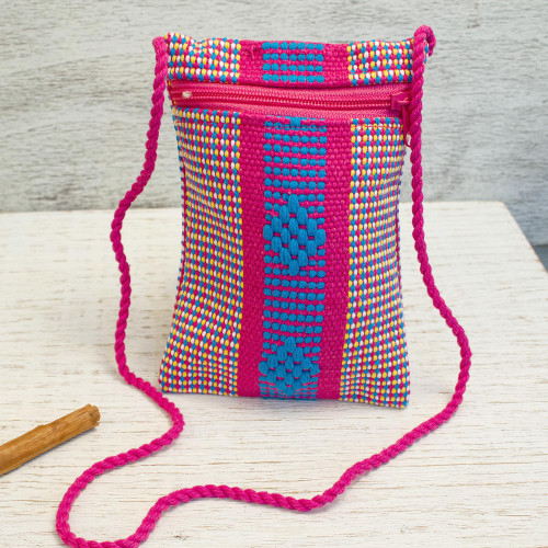 Mexican Hand Woven Multicolored 100 Cotton Cell Phone Bag 'Joy and Tradition'