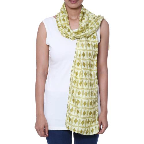Batik Silk Scarf with Diamond Motifs from India 'Batik Diamonds'