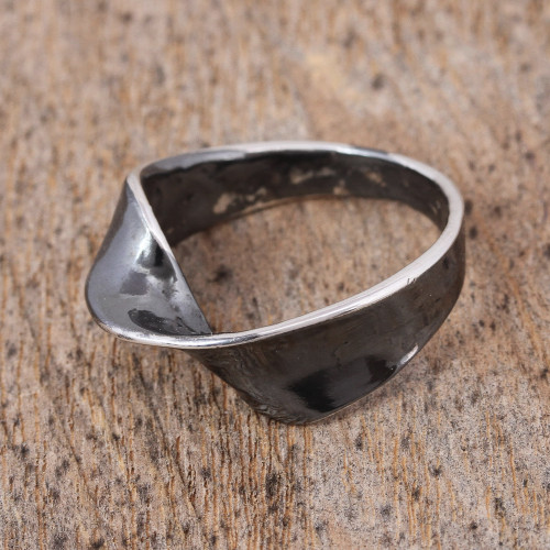 Oxidized Sterling Silver Band Ring from Mexico 'Positive Change'
