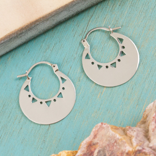 High-Polish Sterling Silver Hoop Earrings from Mexico 'Triangle Glow'