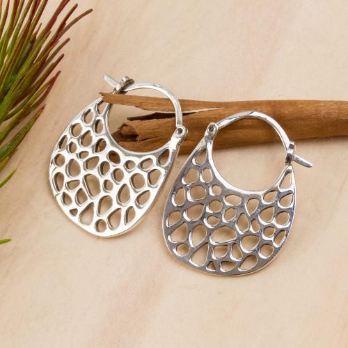 Openwork Sterling Silver Hoop Earrings from Mexico 'Hiding Holes'