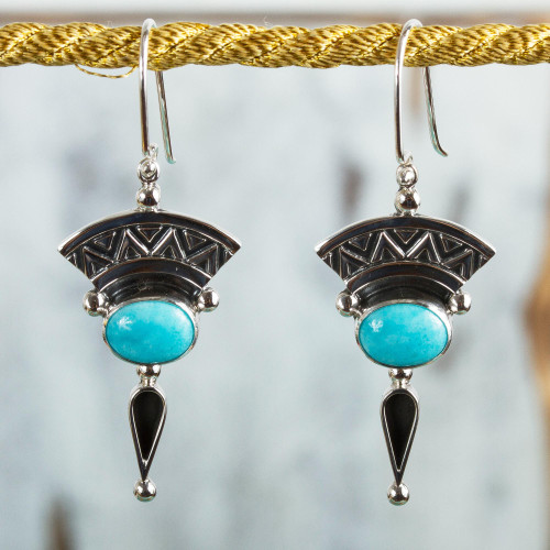 Natural Turquoise and Silver Dangle Earrings from Mexico 'History and Culture'
