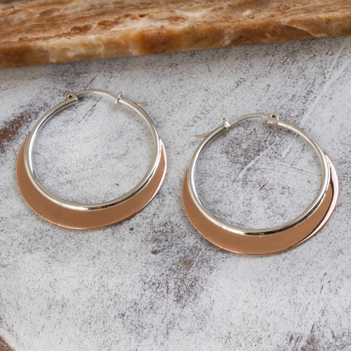 Copper Plated Sterling Silver Hoop Earrings from Mexico 'Copper Light'