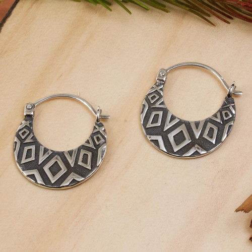 Diamond Motif Sterling Silver Hoop Earrings from Mexico 'Fascinating Diamonds'