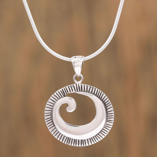 Spiral Design Sterling Silver Pendant Necklace from Mexico 'World of Waves'
