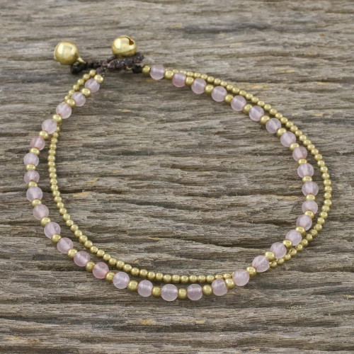 Rose Quartz and Brass Beaded Anklet from Thailand 'Ringing Beauty'