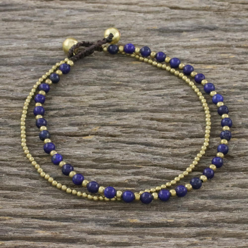 Lapis Lazuli and Brass Beaded Anklet from Thailand 'Ringing Beauty'
