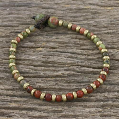 Unakite Red Jasper Brass Beaded Adjustable Bracelet 'Mystic Field'
