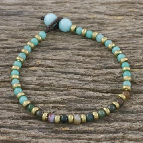 Agate and Green Quartz Beaded Bracelet from Thailand 'Mystic Dream'