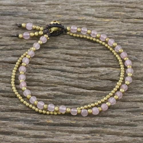 Handmade Rose Quartz Brass Beaded Bracelet with Loop Closure 'Valley of Roses'
