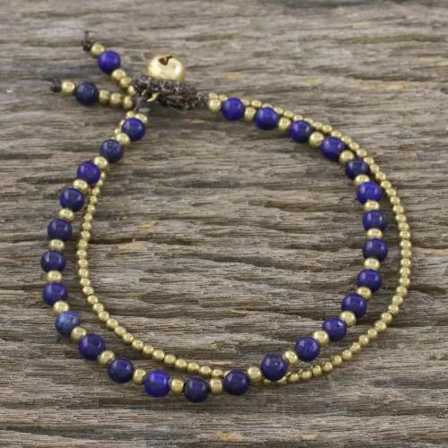 Handmade Lapis Lazuli Brass Beaded Bracelet with Loop 'Valley of Lapis'